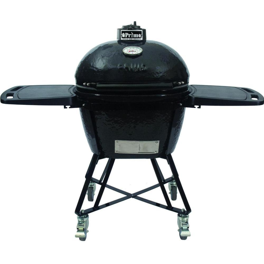 Primo All-In-One Oval Large Ceramic Kamado Grill With Cradle & Side Shelves