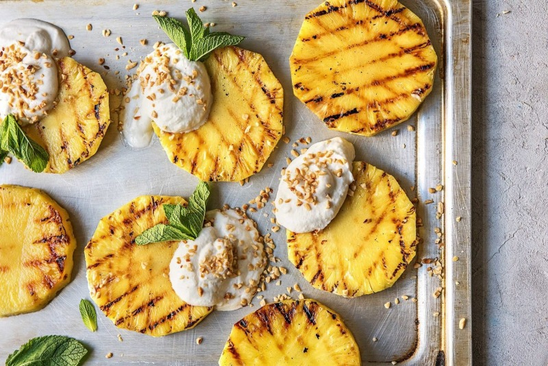 Grilled pineapple rings after using a professional BBQ cleaner